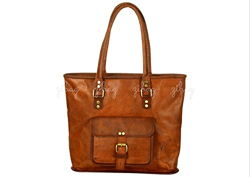 Women Vintage Style Genuine Brown Leather Tote Shoulder Shopping College Office Work Bag ~ Rugged & Distressed Handmade Purse for Her ~ B04