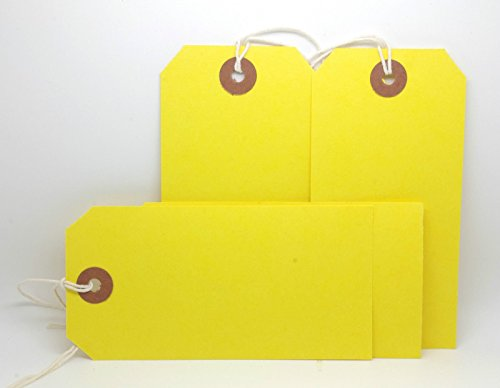 (250 x Yellow Coloured Strung Tags 120mm x 60mm Luggage Labels Tie On Price Gift)
