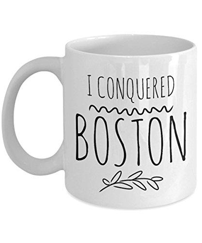 Boston Marathon Finisher Mug - I Conquered Boston - Boston Marathon Runner Gift for Crossing the Finish Line - White 11 oz Ceramic Coffee or Tea Cup