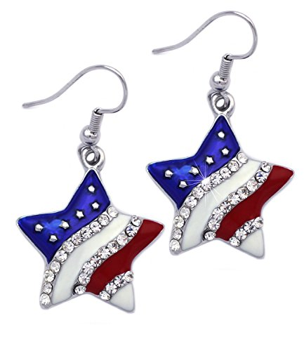 4th of July USA American Flag Patriotic Red Blue Star Earrings Jewelry (Star Hook Silver-tone 3/4