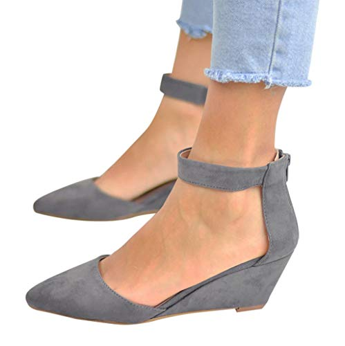 Women's Casual Pointed Toe Low Wedge Flat Shoes Ankle High Walking Platform Pumps Sandals Gray