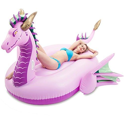 JOYIN Giant Inflatable Majestic Dragon Pool Float, Fun Beach Floaties, Swim Party Toys, Pool Island, Summer Pool Raft Lounge for Adults & Kids