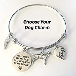 Dog Memorial Charm Bracelet for Pet Loss - No Longer By My Side Forever In My Heart Sympathy Gift