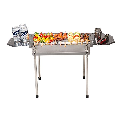 "Pinty 20"" Portable Charcoal Grill Stainless Steel Barbecue BBQ Grill for Outdoor Use"