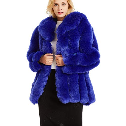 Rvxigzvi Womens Faux Fur Coat Parka Jacket Long Trench Winter Warm Tops Outerwear Overcoat Plus Size M-4XL (Royal Blue, L) Blue Fox Fur Coat Jacket