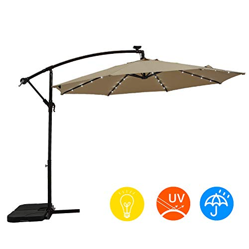 AI-LIN 10Ft Led Lighted Hanging Offset Umbrella Outdoor Cantilever Market Umbrella with Crank, 8 Ribs (Beige)