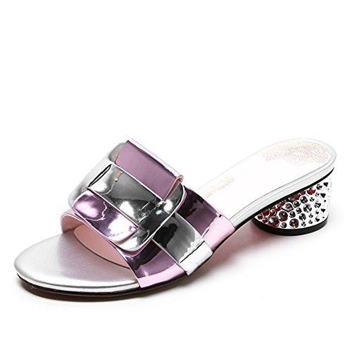 Sandals ZCJB Out of Slippers Woman Summer Fashion Mid Heel Rhinestone No Heel Women's Shoes Pink GTTLJ2GSMp