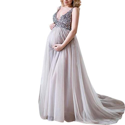 Ohvivid Sexy Women Pregnant Sling V Neck Sequin Cocktail Long Maxi Prom Gown Dress Maternity Dress for Photography Chiffon Maternity Gown for Photoshoot (XL, Silver)