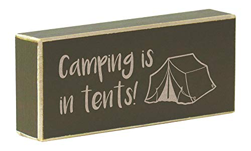 Rustic Wood Magnet Outdoors Saying Laser Engraved Camping is in Tents (Olive - Tent Engraved Green