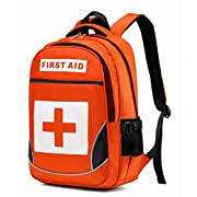 Camoredy First Aid Bag Empty Red Emergency Medical Backpack First Responder Trauma Bag Waterproof Multi-Pocket for…
