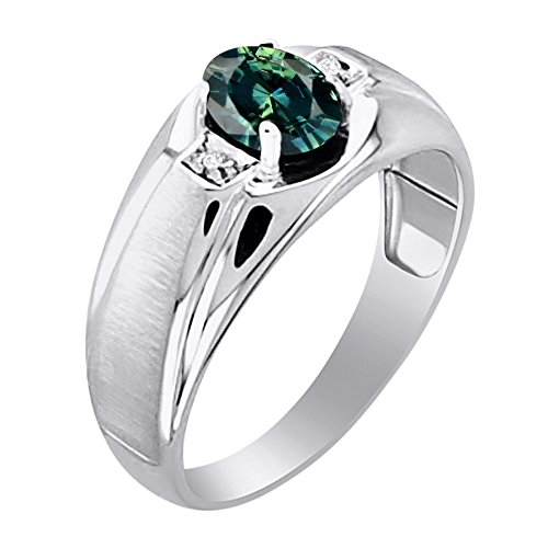 Green Sapphire & Diamond Ring Set in Sterling Silver With Satin Finish by Rylos