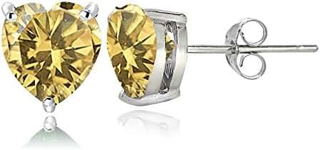Sterling Silver Genuine, Created or Simulated Birthstone Gemstone 7mm Heart Stud Earrings