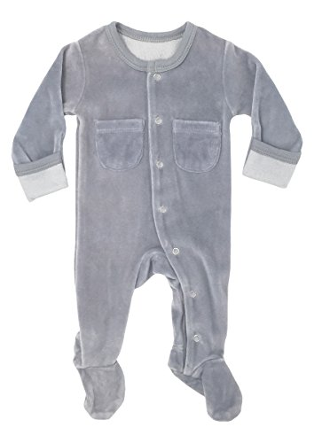L'ovedbaby Unisex-Baby Organic Cotton Footed Overall (0-3 Months, Velour Light Gray) Cotton Velour Overalls