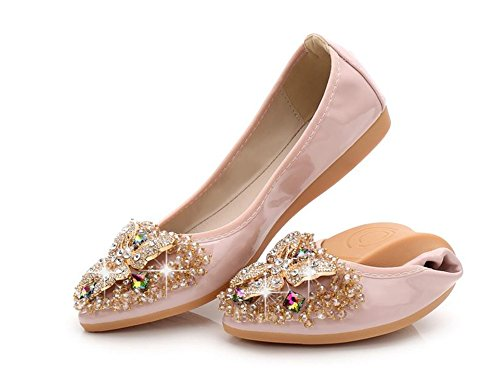 (Woman Collapsible Rhinestone Pointed Soft Bottom Butterfly Sequin Dance Shoes(Pink-42/11 B(M) US Women))