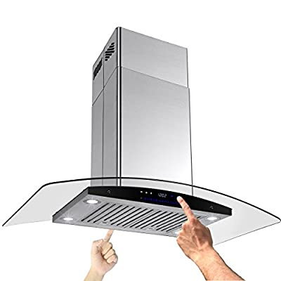 "AKDY New 30"" European Style Island Mount Stainless Steel Range Hood Vent Swiping Sensor Control W/Both Side Accessible Control AZ-H601C-75"