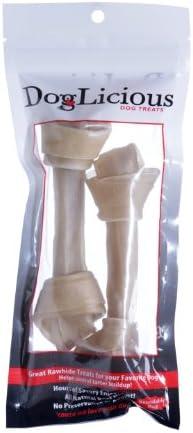 Doglicious Rawhide 6.5-7 Natural Bone-New RESEALABLE Bag
