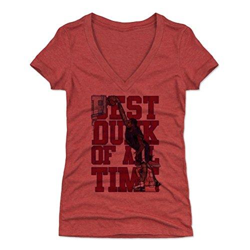 500 LEVEL Vince Carter Women's V-Neck Shirt X-Large Tri Red - Vintage Toronto Basketball Women's Apparel - Vince Carter USA Best Dunk Of All Time R ()