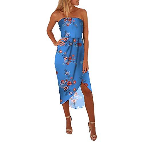 (Women Vintage Print Dress,FAPIZI Sleeveless Casual Asymmetrical Strapless Sundress Beach Side Slit Dress Blue )