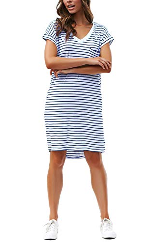 NERLEROLIAN Women T-Shirt Stripe Dress with Pockets V-Neck Knee Length Loose Tunic Summer Dress (Blue Stripe,S)