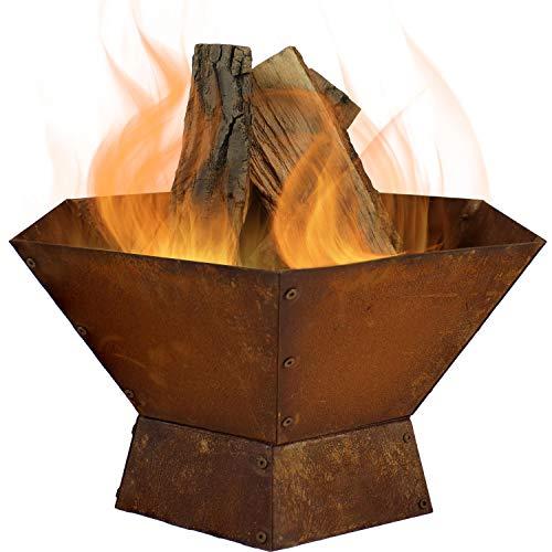 Sunnydaze Rustic Cast Iron Hexagonal Fire Pit Bowl, Wood-Burning, 23-Inch