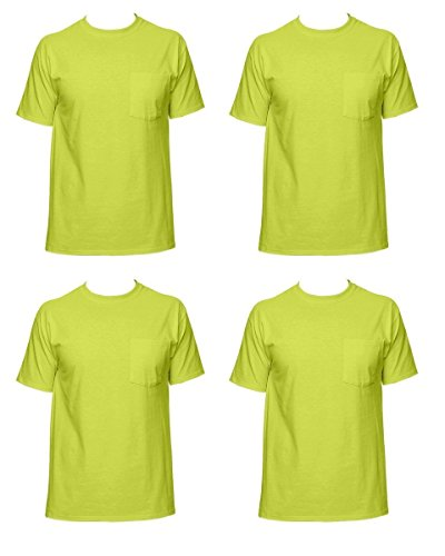 Fruit of the Loom Men's 4-Pack of Pocket T-Shirts, Safety Green, XL (Pack of 4) ()