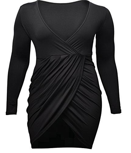 VIISHOW Womens Plus Size Deep V Neck Bodycon Wrap Dress with Front Slit (4XL, Black)