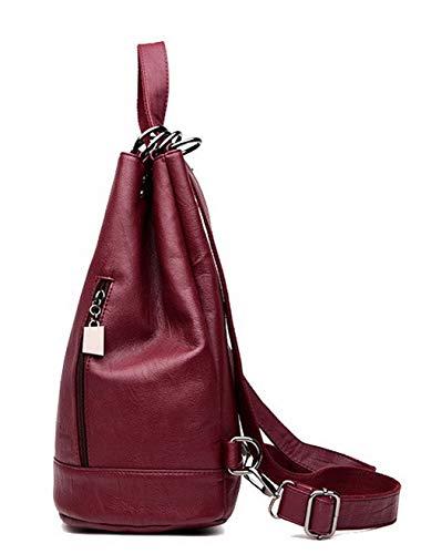 Sacs Violet Rouge Sacs bandoulière Vineux Femme bandoulière à PU AllhqFashion à Cuir Énorme FBUFBE181687 Mode UBT7X