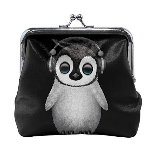 Coin Purses Vintage Pouch Kiss-lock Change Purse Wallets - Cute Baby Penguin Dj Wearing Headphone -