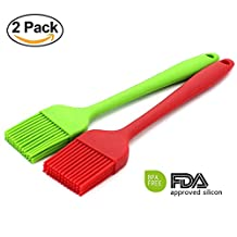 Pastry basting Grill Barbecue Silicone Oil Brush DIY Cake Tools Set - Solid Core and Stainless Steel inside with Hygienic Solid Coating - 2 Bright Colored Red, Blue - 8-3/4 Inch Long