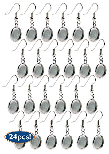 Bastex Silver Earring Blanks, Pack of 24 Units. Wire Hooks with Small 12mm Cabochon Settings. Perfect for DIY Jewelry Making Supplies and Earring ()