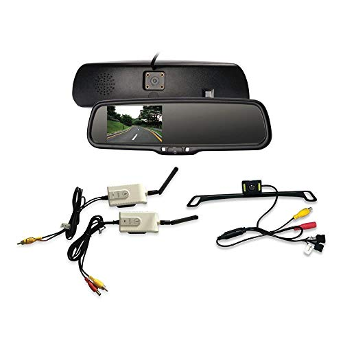 Wireless Backup Rear View Camera - Waterproof License Plate Car Parking Rearview Reverse Safety/Vehicle Monitor System w/ 4.3' Mirror Video LCD, Distance Scale Lines, Night Vision - Pyle PLCM4590WIR