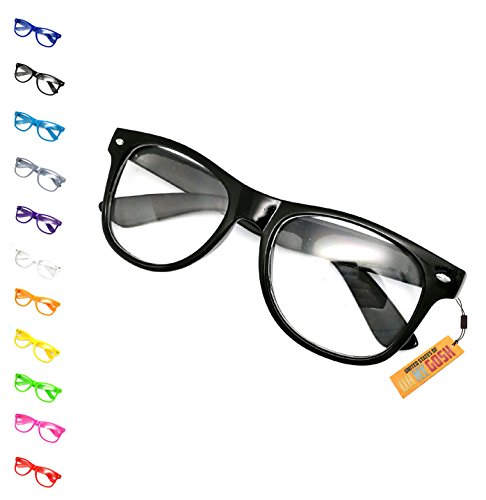 United States of Oh My Gosh Costume Nerd Glasses - 11 Colors Men, Women, Children #1 Glasses US of OMG - Black -