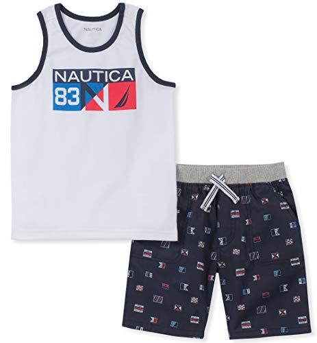 Nautica Sets (KHQ) Baby Boys 2 Pieces Tank Top Shorts Set, White/Navy, 3-6 Months