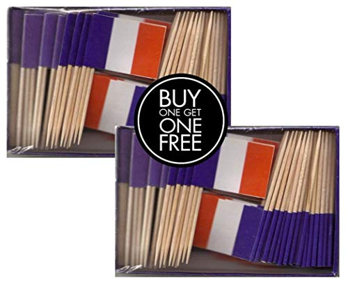 2 Boxes of Mini France Toothpick Flags, 200 Small French Flag Toothpicks or Cocktail Sticks & Picks