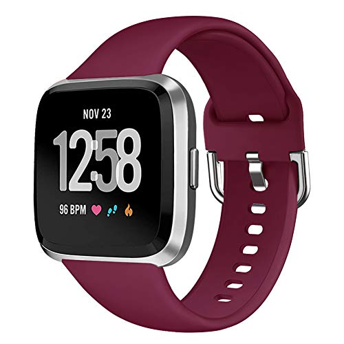 (GHIJKL Bands Compatible with Fitbit Versa/Versa Lite/Special Edition, Silicone Breathable Replacement Sport Strap Wristband Accessories for Fitbit Versa Smartwatch, Women Men, Small, Wine Red)