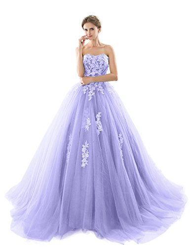 a6d4e2c2502 2018 Prom Dresses for Women Quinceanera Dress Puffy Ball Gowns Empire Waist  Lace Appliqued Pleated Tulle Formal Clothing YZ93 Light Purple Size 18W