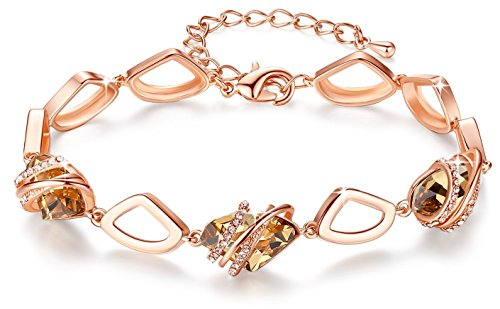 Box Gold Plated Silver - Leafael [Presented by Miss New York] Wish Stone Made with Swarovski Crystals Focal Shape 18K Rose Gold Plated Amber Brown Bracelet, 7