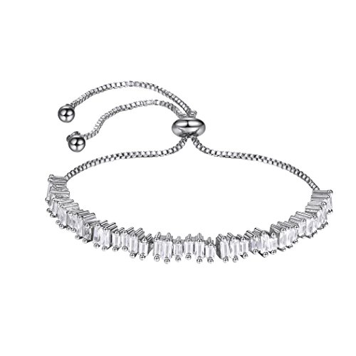 Bracelet White Baguette (Irregular Cut Baguette Crystal Bracelet Cubic Zirconia Adjustable Bolo Chain Tennis Bracelet White Gold)