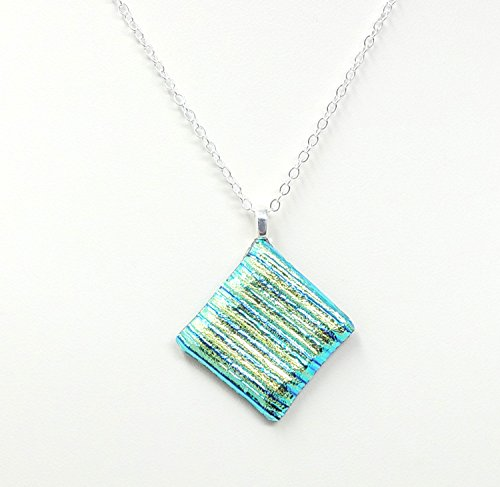 Fused Stained Glass Necklace - Dichroic Green Stripes