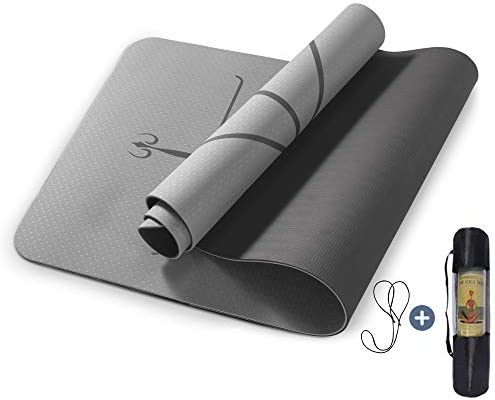 "Yoga Mat Non Slip, Pilates Fitness Mats with Alignment Marks, Eco Friendly, Anti-Tear Yoga Mats for Women, 1/4"" Exercise Mats for Home Workout with Carrying Strap"