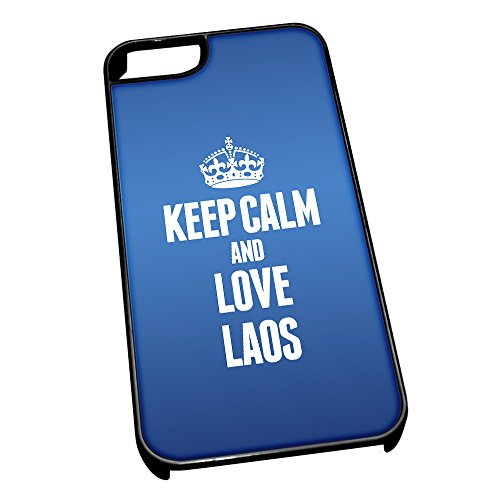 Nero cover per iPhone 5/5S, blu 2223Keep Calm and Love Laos