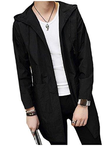 Long Howme Collar Outwear Men Hooded Mid Black Down Windbreaker Turn U4pwU0