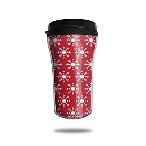 Double Wall Insulated Travel Mug With Lid, Christmas Snowflakes On Red Travel Tumbler Cup For Coffee, Ice Drink & Hot Beverage, 8-Ounce, Leak-proof