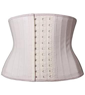 YIANNA Women's Classic Underbust Latex Sports Girdle Short Torso Waist Training Corsets for Weight Loss Hourglass Body Shaper Fat Burner, AU-YA110299-Beige-XS