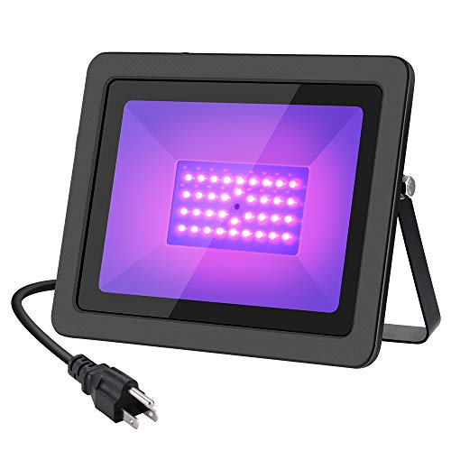WELKEY PLUS 50W UV Black Light with Plug(6ft Cable), IP66 Waterproof Ultra Violet LED Flood Blacklight for Party Supplies, Stage Lighting, Body Paint, Fluorescent Poster, Neon Glow in The - Black Plug Light
