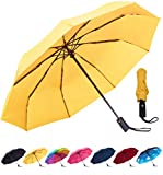 Rain-Mate Compact Travel Umbrella - Windproof, Reinforced Canopy, Ergonomic Handle, Auto Open/Close Multiple Colors (Yellow)