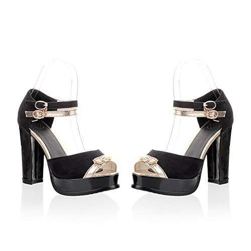 Peep Black Toe Solid Heels Chunky VogueZone009 Sandals Colors High Womens with Assorted Heel Frosted Open BwxzqZ6qnE