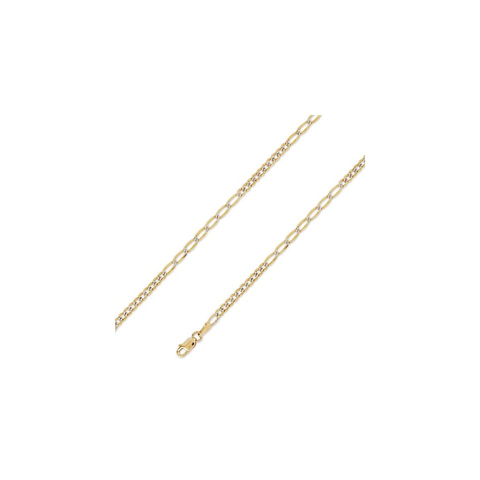 14K Solid Yellow 2 Two Tone Gold Figaro 10+7 Chain Necklace 3mm (7/64
