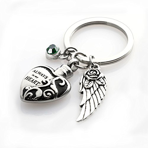 Cremation Urn keychains Always in My Heart Memorial Pendant Keepsake Ash Locket Rose Key Ring Vintage Angel Wing Charm Jewelry ()