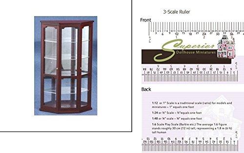 1 Scale Dollhouse Mahogany Curio Cabinet With Mirror Superior Dollhouse Miniatures